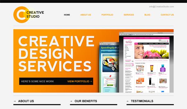Sleek minimal website PSD template