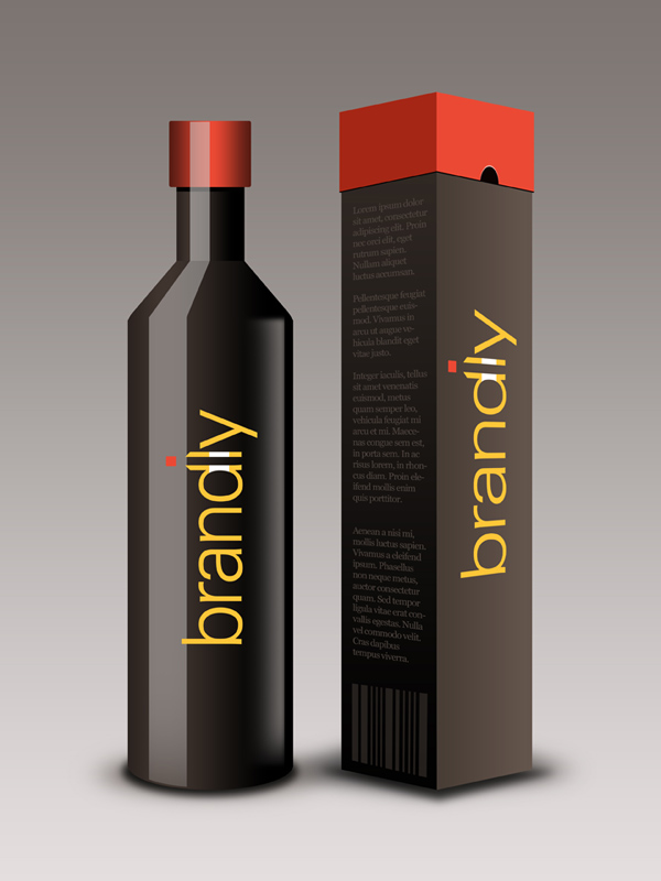 Package design part 1 realistic wine bottle and box psd download