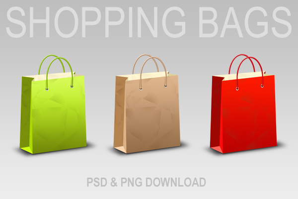 Download shopping bag &#038; icons (PSD &#038; PNG)