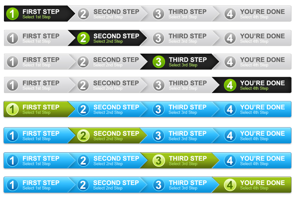 4 step process panel in 2 colors (PSD)