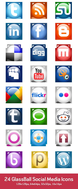 24 glossy social media icons (PSD & PNG)