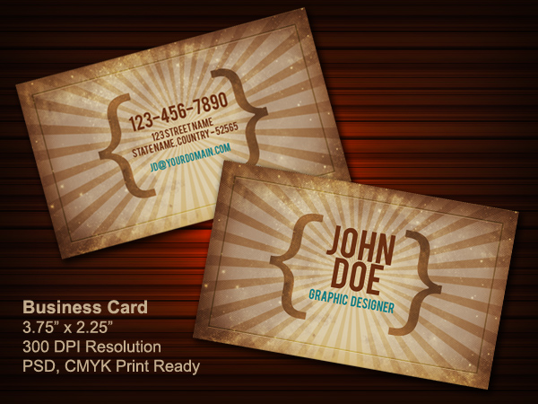 Vintage business card PSD (front &#038; back)