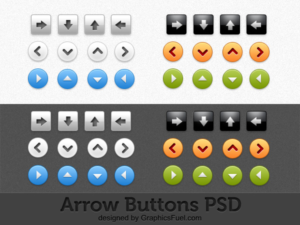 Arrow buttons PSD pack