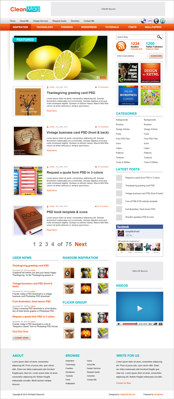 Wordpress blog theme psd template graphicsfuel for Word press blog templates