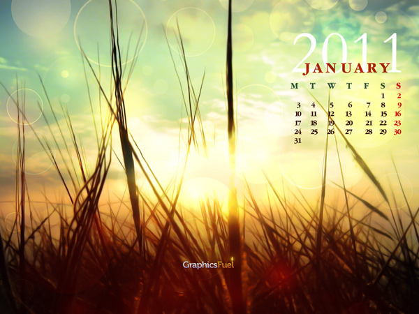 Wallpaper calendar: January 2011