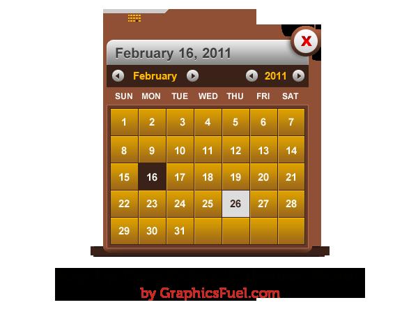 Pop-up date picker (calendar picker) PSD
