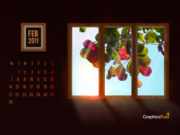 of February, here's a wonderful wallpaper calendar for February 2011 for