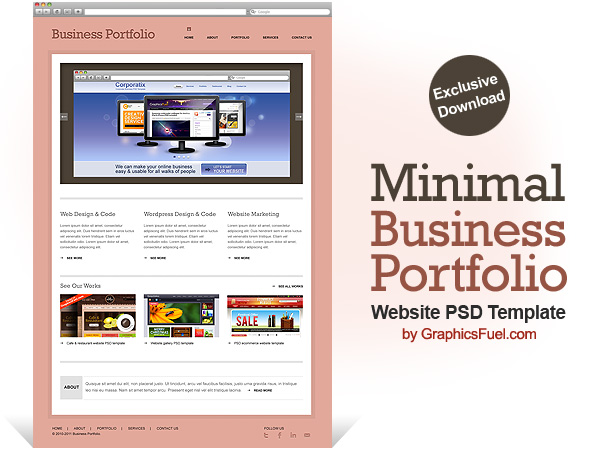 GraphicsFuel.com |   Minimal business portfolio website PSD template