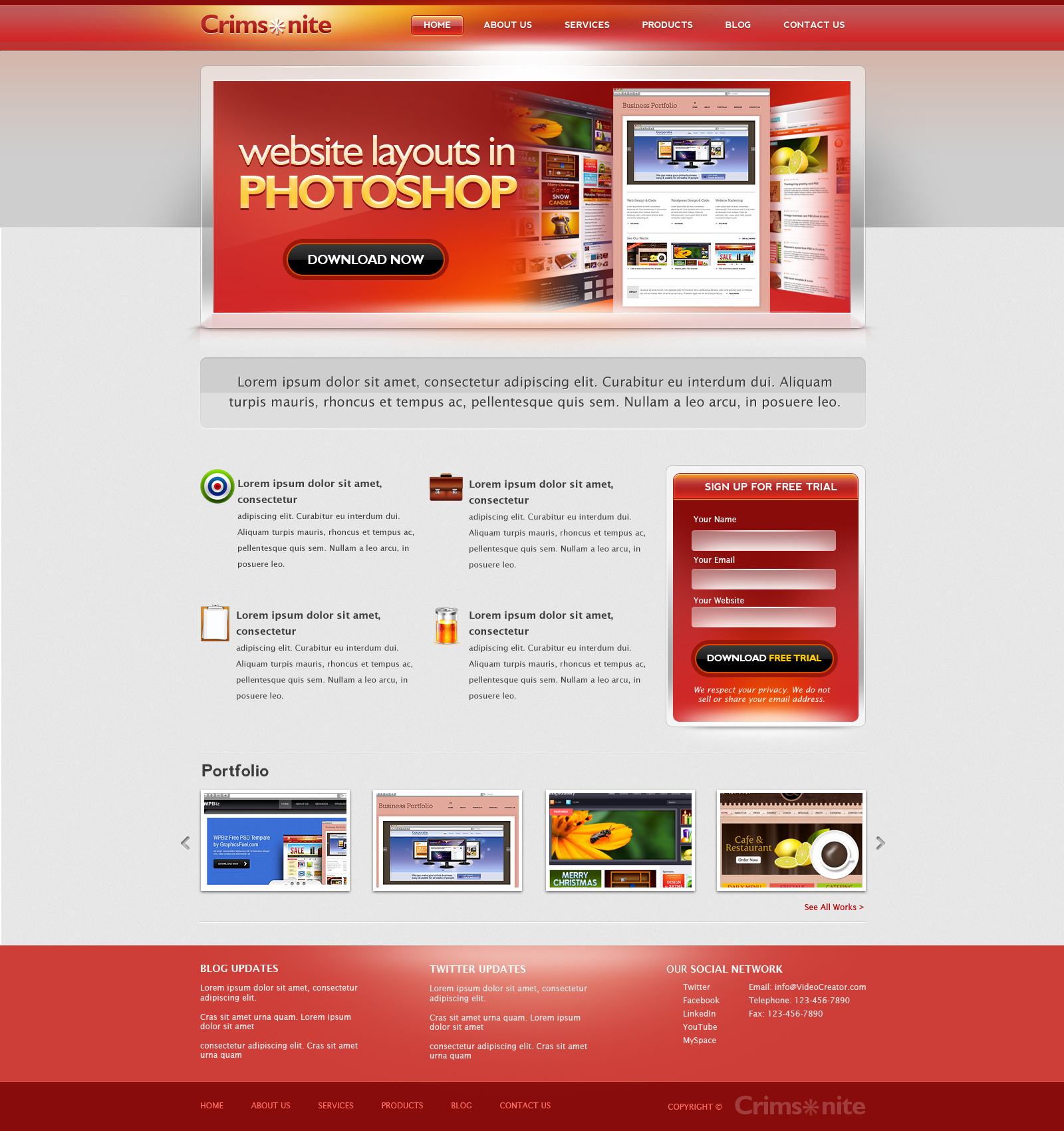 Corporate website PSD template - GraphicsFuel