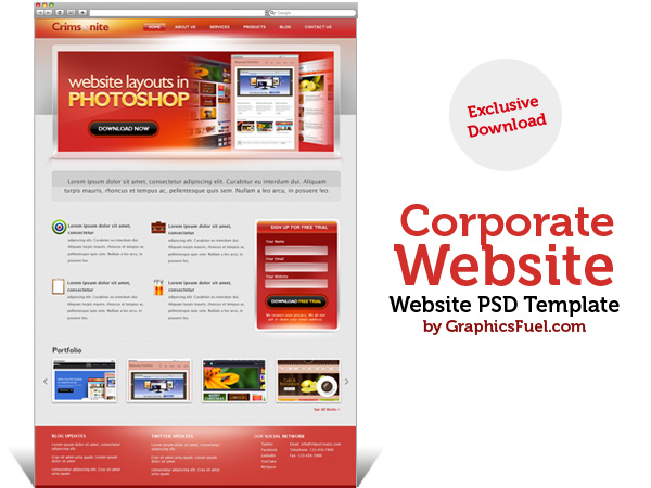 Corporate website PSD template