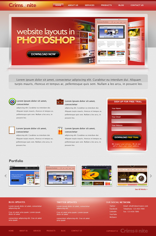 New Corporate website PSD template Free