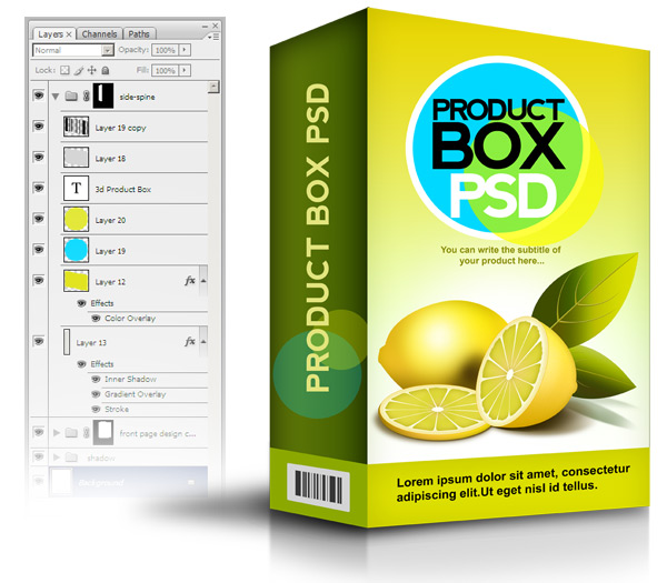 Product box PSD template