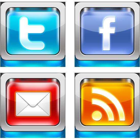 Shiny 3D social media icons PSD - پی سی سیتی