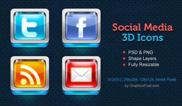 Shiny 3D social media icons PSD