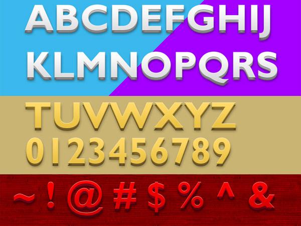 3D Photoshop text styles
