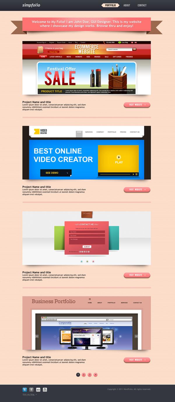 Fresh WordPress portfolio PSD template free