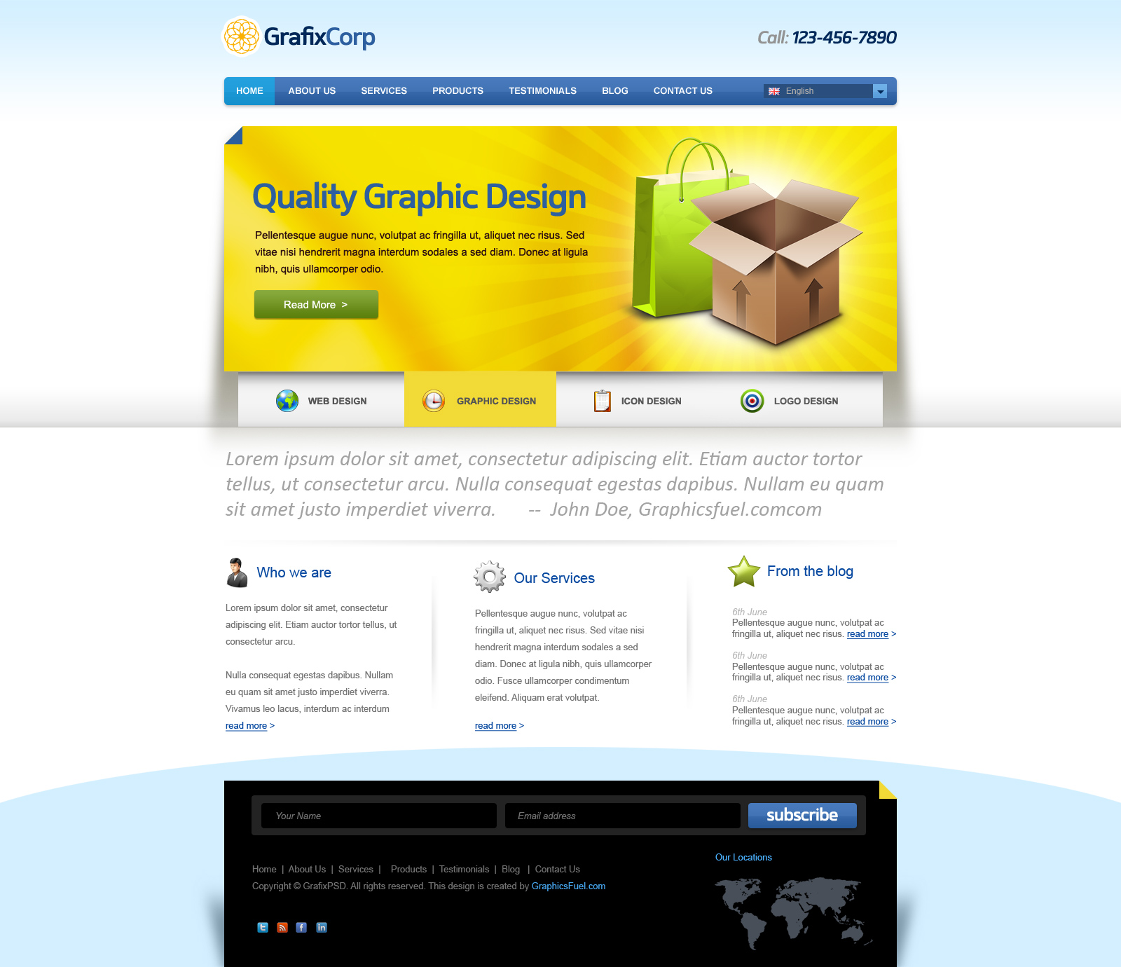 Preview of the website psd template