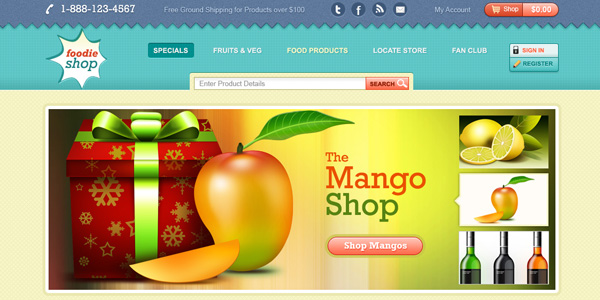 Ecommerce website template design (PSD)