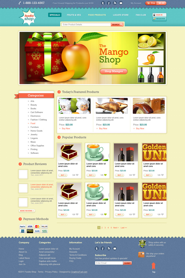 Ecommerce website template design Free