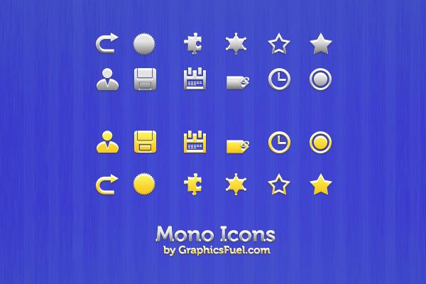 Clean mono icons (vector PSD)