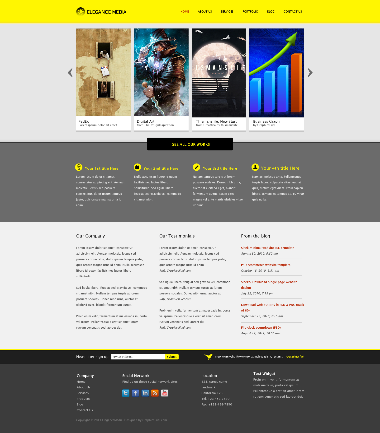 Clean business website template (PSD) - GraphicsFuel