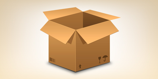 Realistic cardboard box icon (PSD)