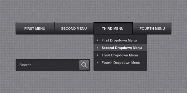 Sleek navigation menu bar (PSD)