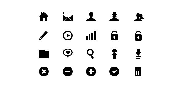 20 pixel-perfect glyph icons (vector PSD)