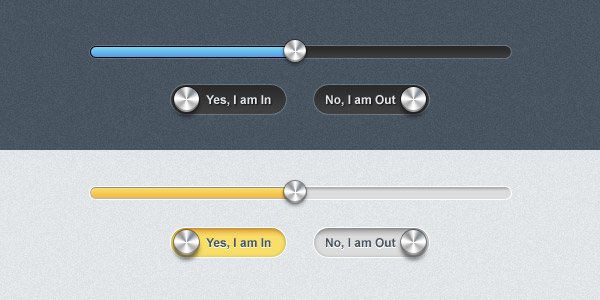 Sleek progress bar and toggle buttons (PSD)