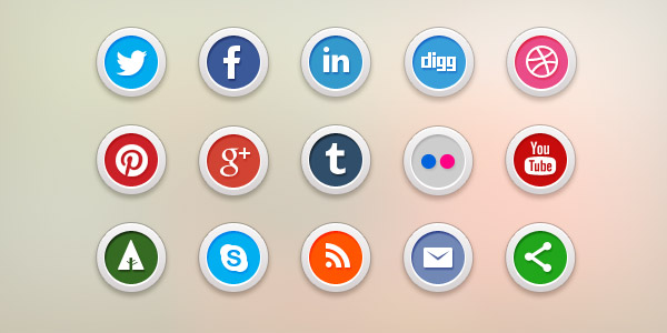 15 Free Social Media Icons (PSD & PNG)