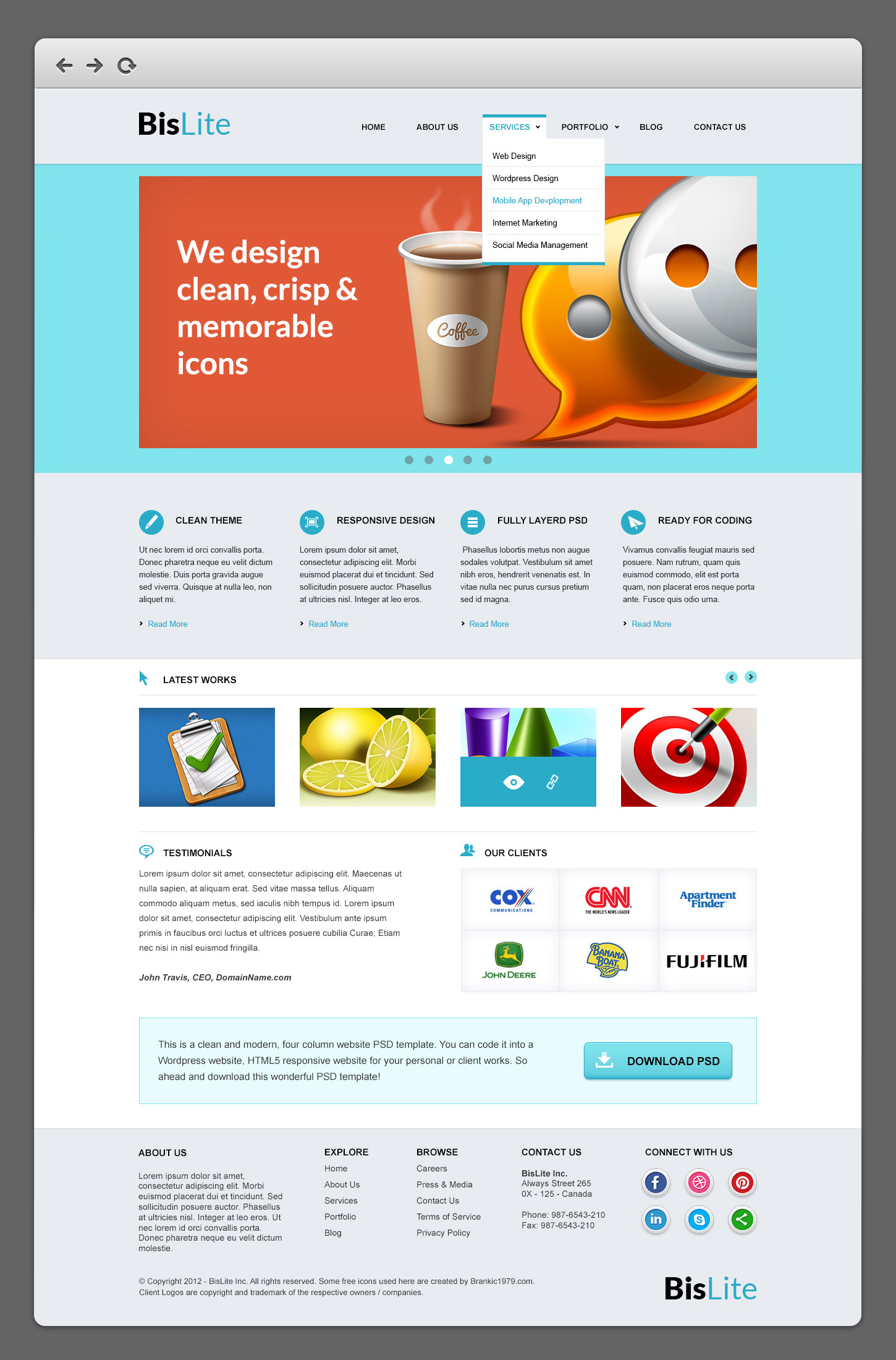 Bislite business website psd templates graphicsfuel for Websites to design houses for free