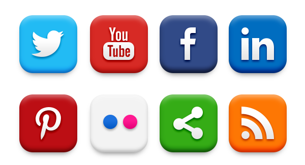 20 popular social media icons psd png
