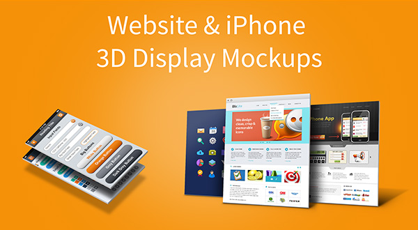 Website &#038; iPhone 5 3D Display Mockups Vol.1 (PSD)
