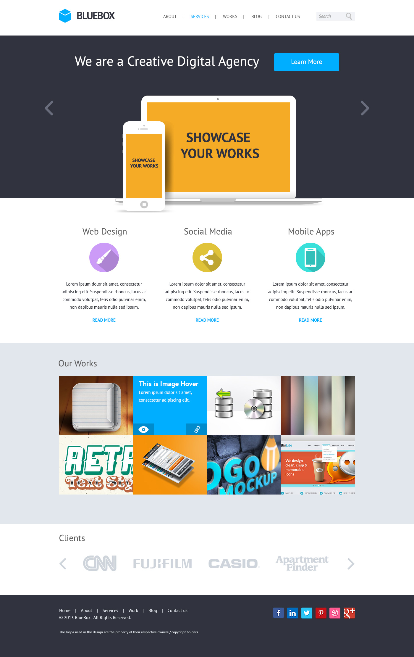 Bluebox flat website psd templates design graphicsfuel for Home design website free
