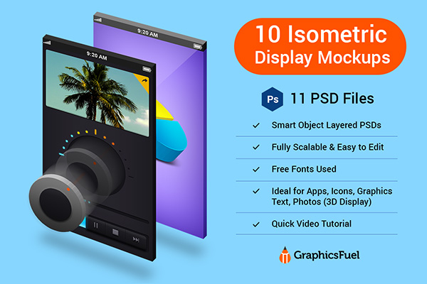 Isometric 3D Display Mockups