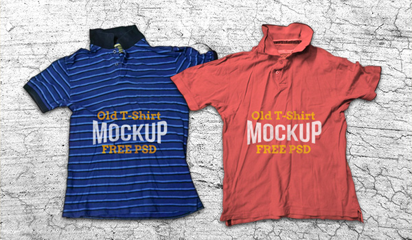 Old Crumpled T-Shirt Mockup PSD