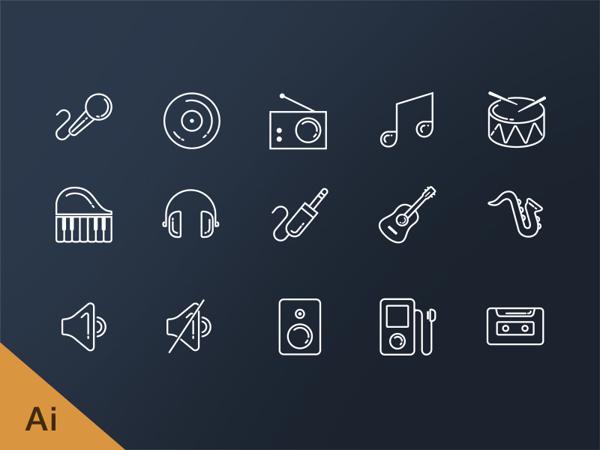 free-music-line-icons