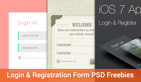 20 Login & Registration Form Free PSDs