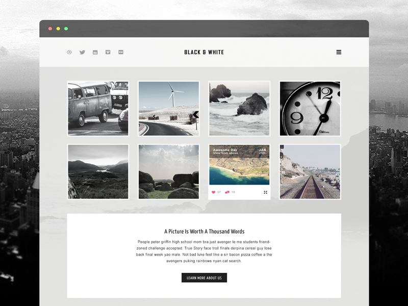black-white-website-template