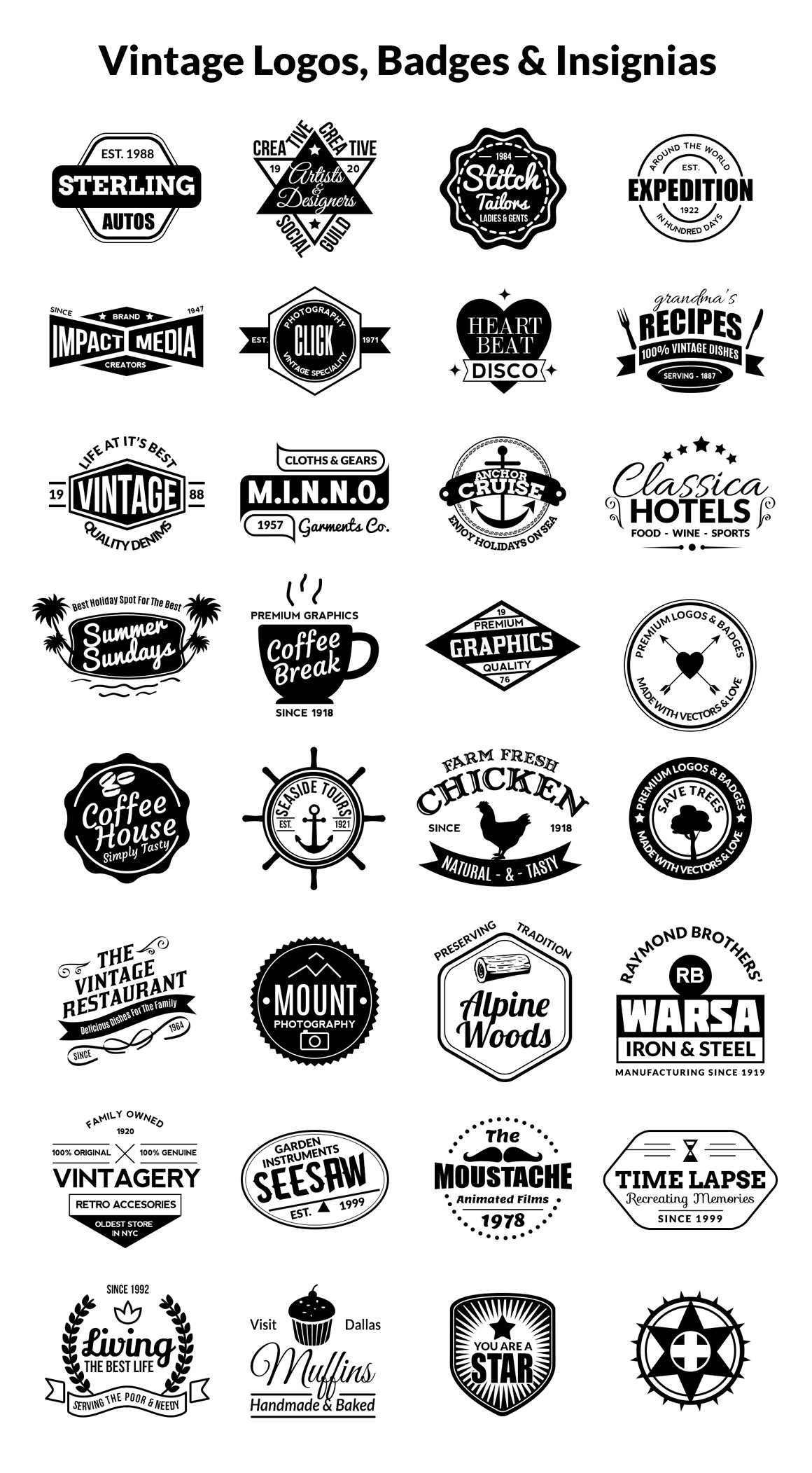 Vintage Logos, Badges, Insignias Kit - Vol.1 - GraphicsFuel