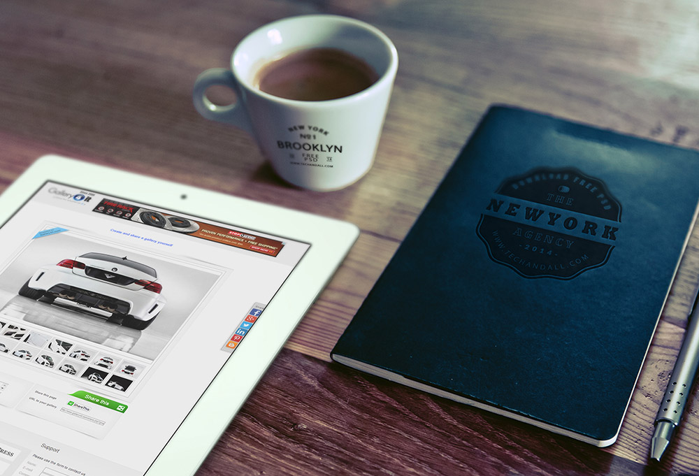 iPad, Cup Logo & Notebook Logo mockup PSD