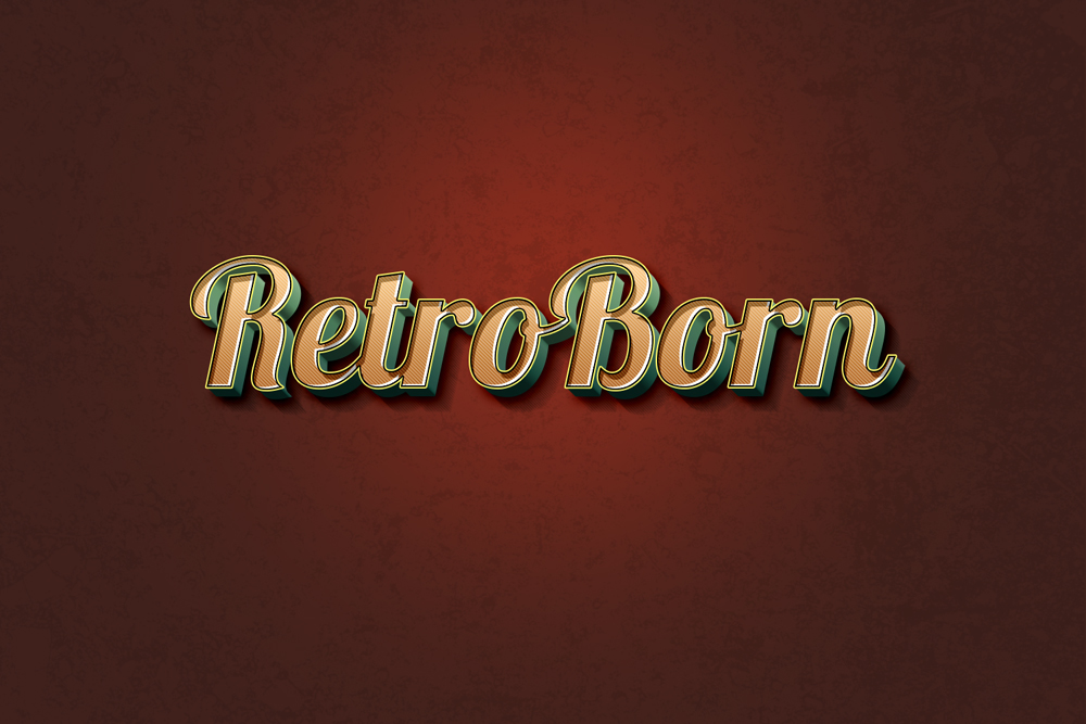Retro Text Effect PSD