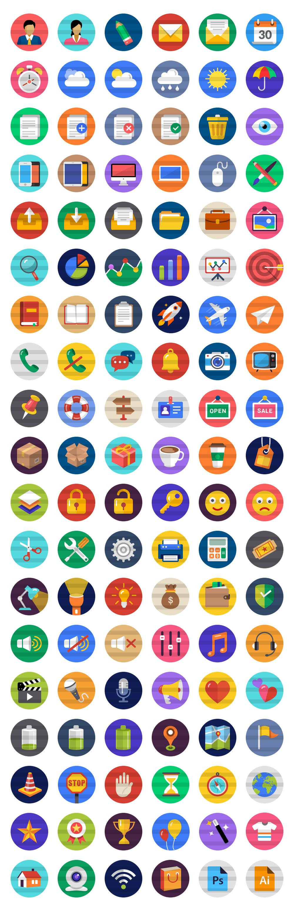 114 Flat Round Icons