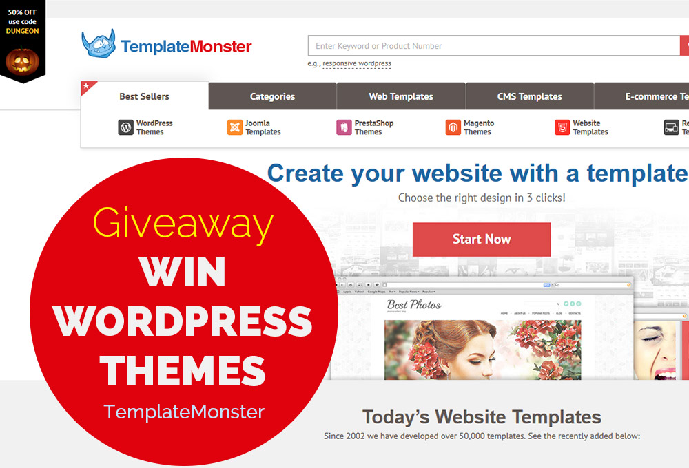 Giveaway: Win WordPress Themes from TemplateMonster