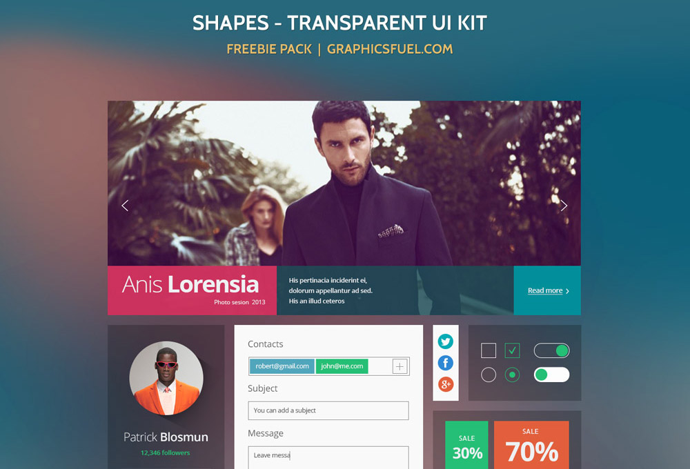 Shapes: Transparent UI PSD Kit