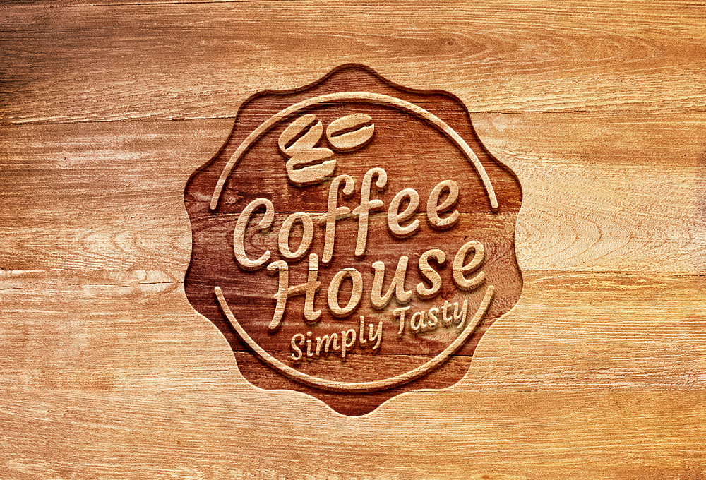Carved Wood Logo Mockup PSD