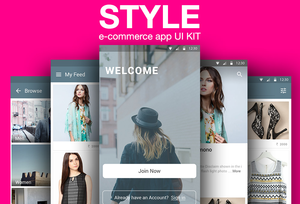 Style free e commerce app ui kit graphicsfuel for E commerce mobili