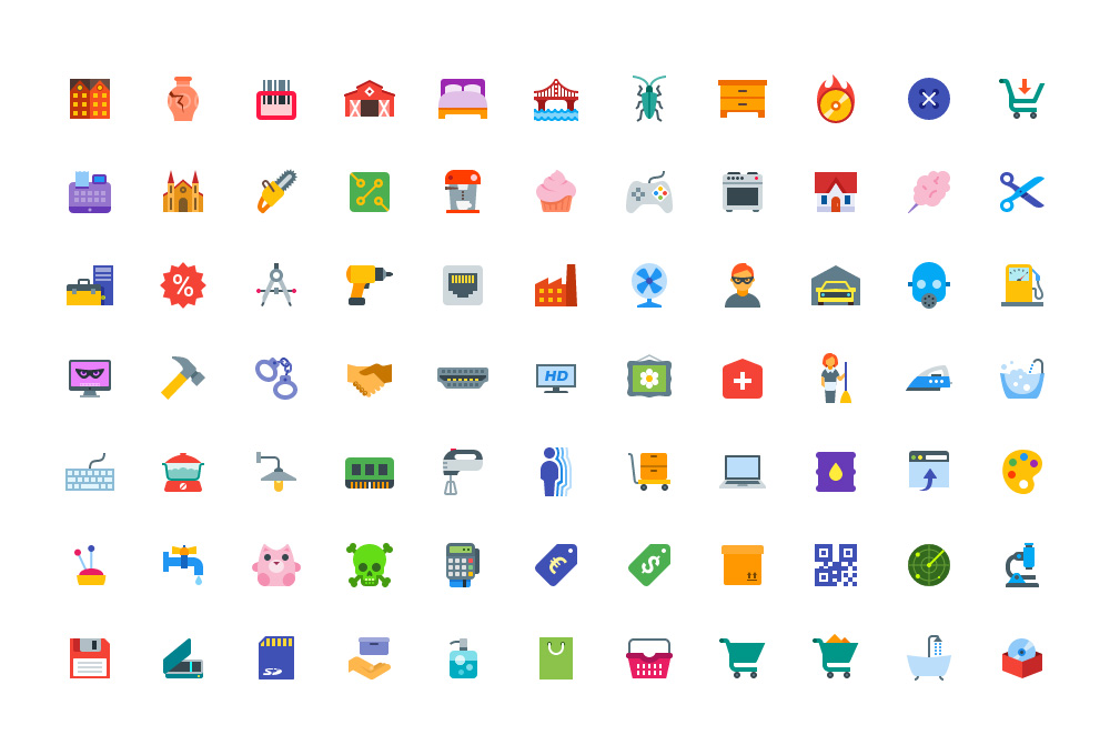 100 Free Flat Color Icons