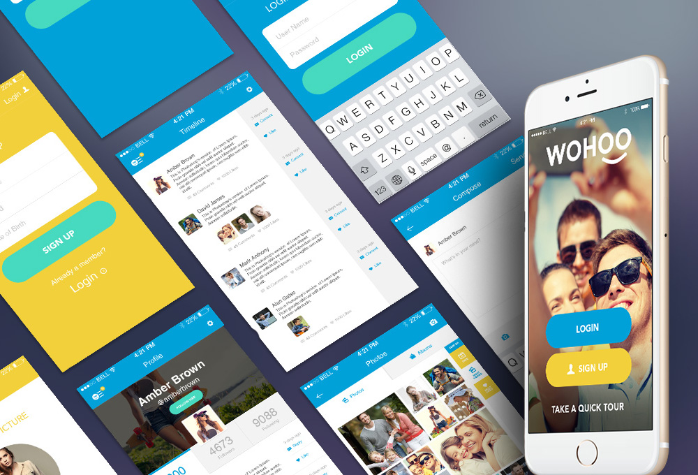 WOHOO: Free Mobile App UI Kit