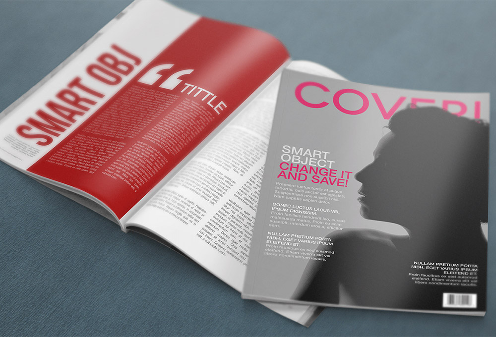 Free 4k magazine psd mockup graphicsfuel for Magazine layout templates free download